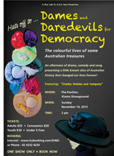 Dames and Daredevils for Democracy Kiama  poster