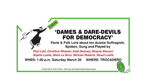 Dames and Daredevils for Democracy National Folk Festival poster